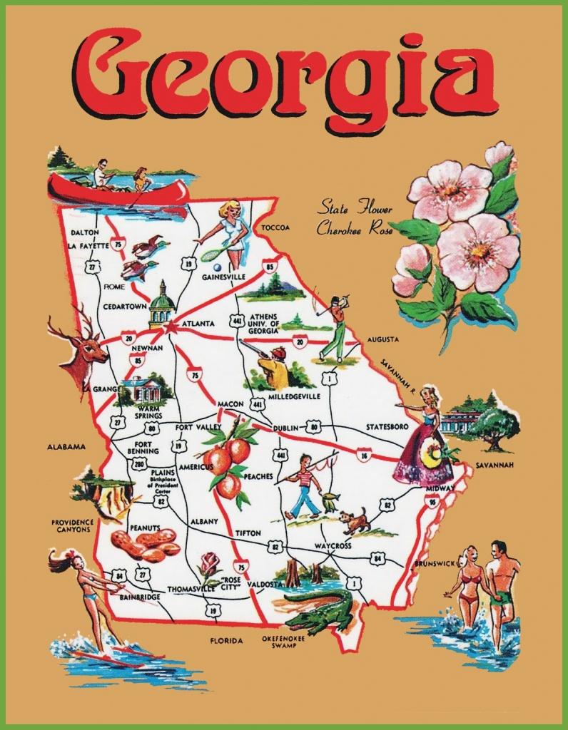 Pictorial Travel Map Of Georgia - Printable Map Of Columbus Ga