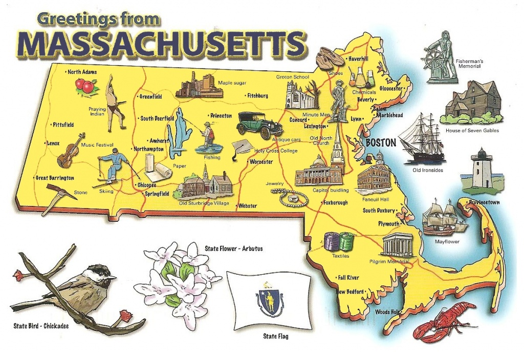 Pictorial Travel Map Of Massachusetts - Printable Map Of Massachusetts