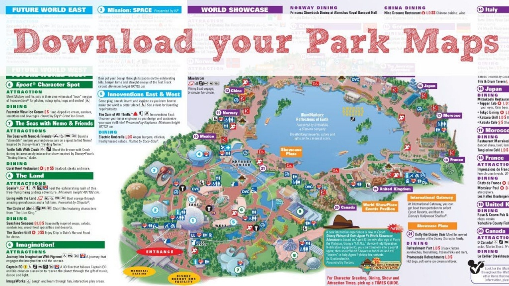 Pindawn E C On Travel - Theme Parks | Disney World Map, Epcot - Printable Disney Maps