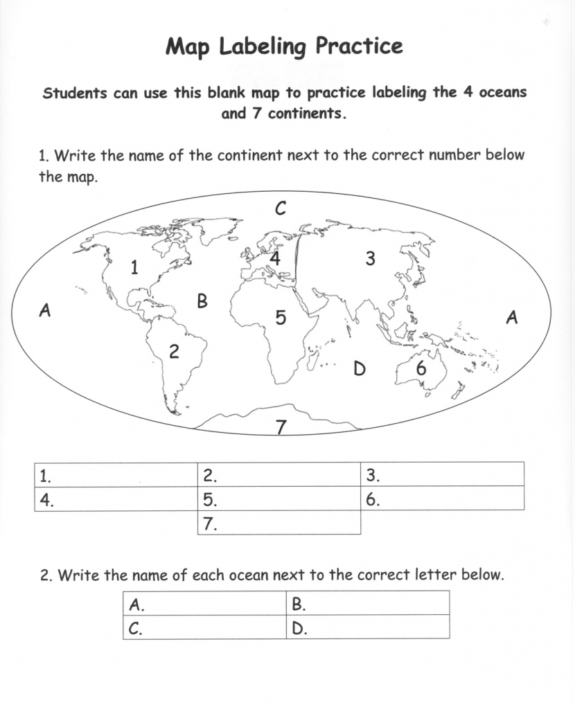 Pinecko Ellen Stein On Learning Goodies   Continents, Oceans - Map Of Continents And Oceans Printable