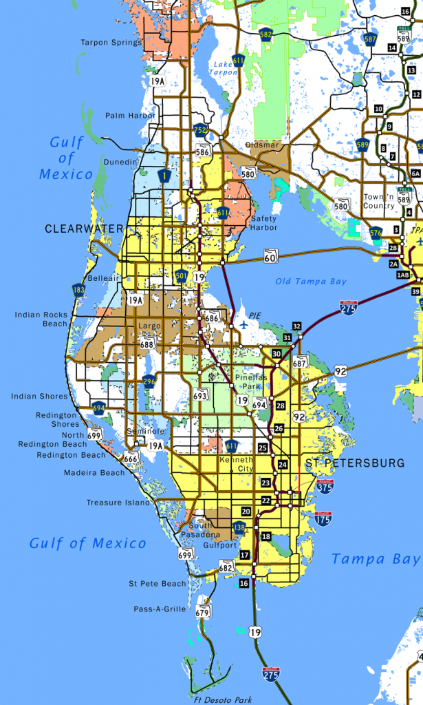Pinellas County - Aaroads - City Map Of Palm Harbor Florida