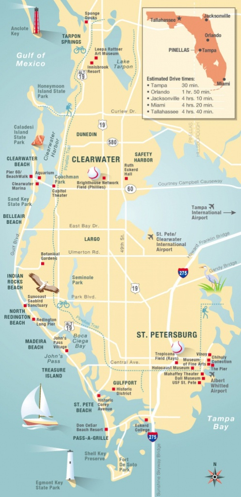 Pinellas County Map Clearwater, St Petersburg, Fl   Florida - Clearwater Beach Florida Map
