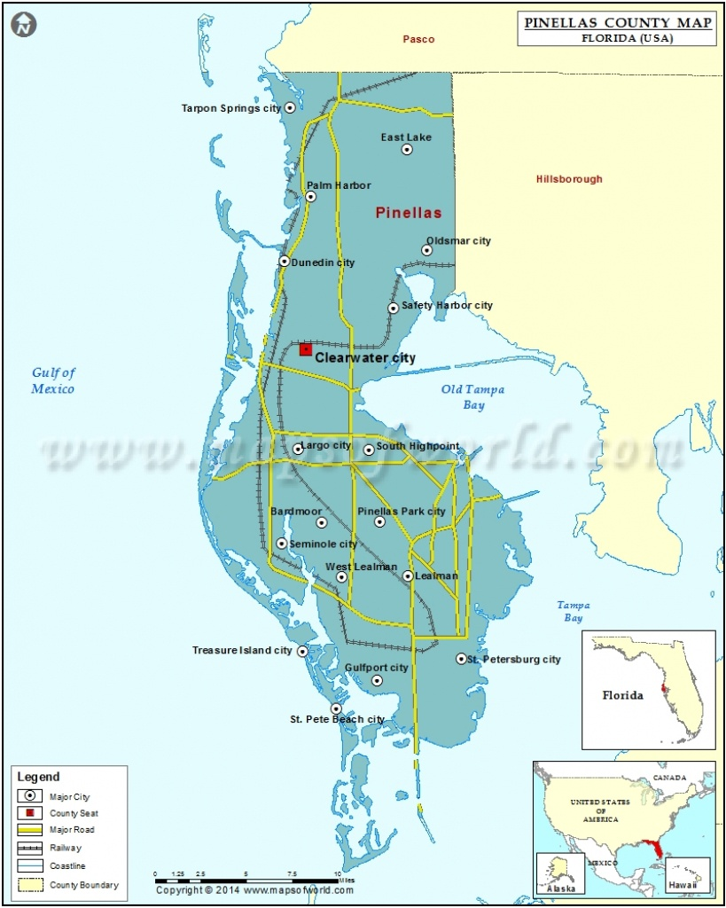 Pinellas County Map, Florida - Safety Harbor Florida Map