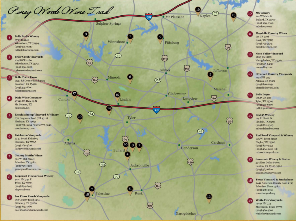 Piney Woods Wine Trail | Texas Uncorked - Hill Country Texas Wineries Map