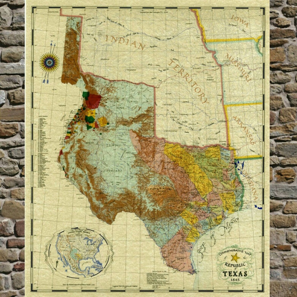Pinjennifer Burger On Stairway Wall   Framed Maps, Republic Of - Republic Of Texas Map Framed