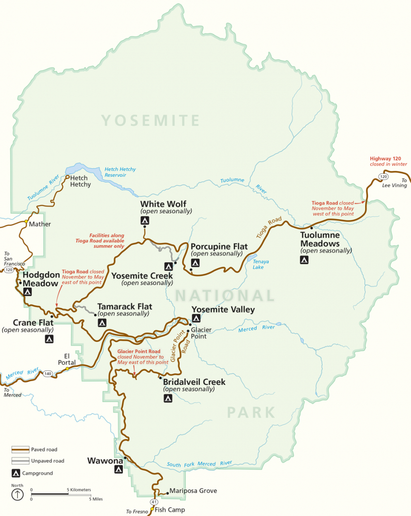 Places To Go - Yosemite National Park (U.s. National Park Service) - Yosemite National Park California Map