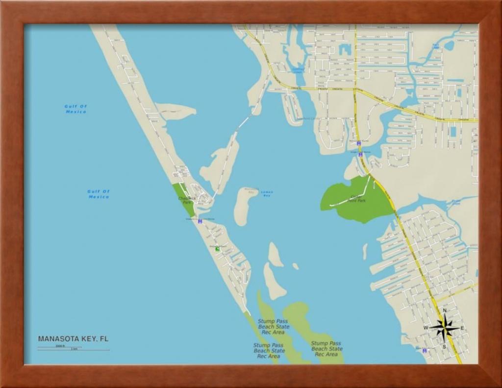 Political Map Of Manasota Key, Fl Framed Print Wall Art - Walmart - Manasota Key Florida Map