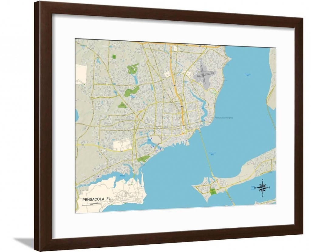 Political Map Of Pensacola, Fl Framed Print Wall Art - Walmart - Printable Map Of Pensacola Florida