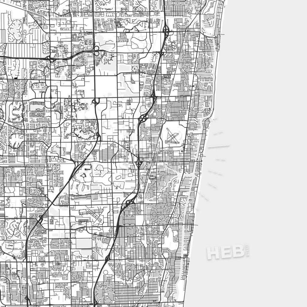 Pompano Beach, Florida - Area Map - Light | Hebstreits Sketches - Pompano Florida Map