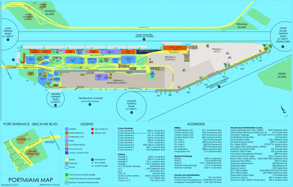 Portmiami - Cruise Terminals - Miami-Dade County - Miami Florida Cruise Port Map