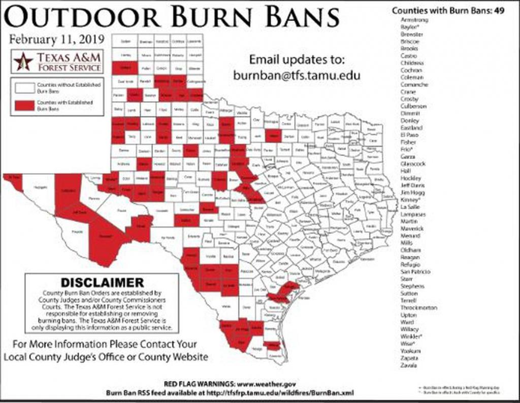 Potter, Hemphill Counties Now Under Burn Ban - Burn Ban Map Of Texas