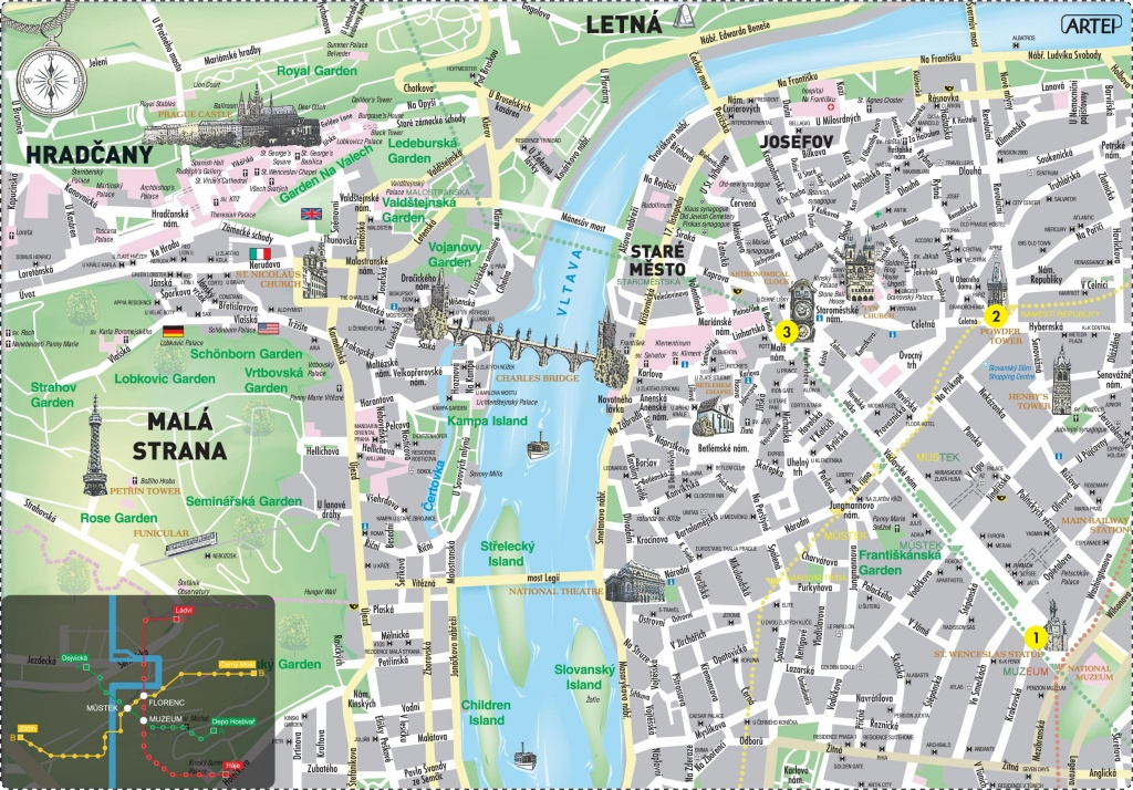 Prague Center Map - Map Of Prague City Centre In English (Bohemia - Printable Map Of Prague City Centre
