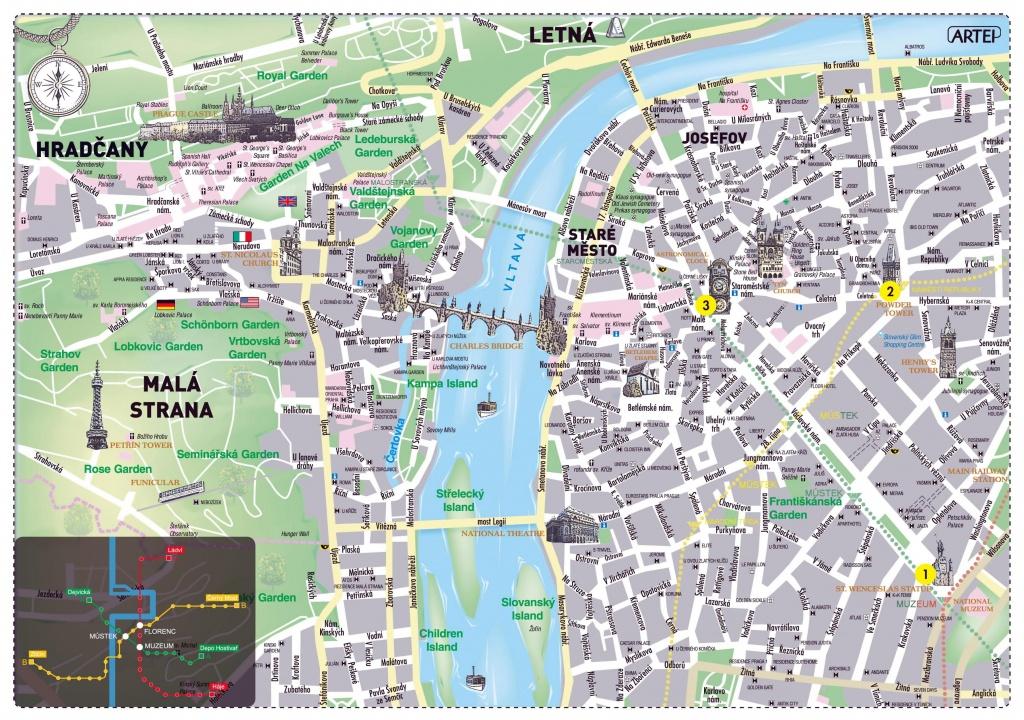 Prague Map Print - Map Of Prague Map Print (Bohemia - Czechia) - Printable Map Of Prague