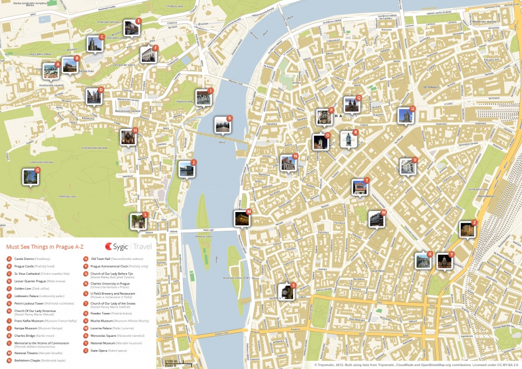 Prague Printable Tourist Map | Sygic Travel - Prague City Map Printable