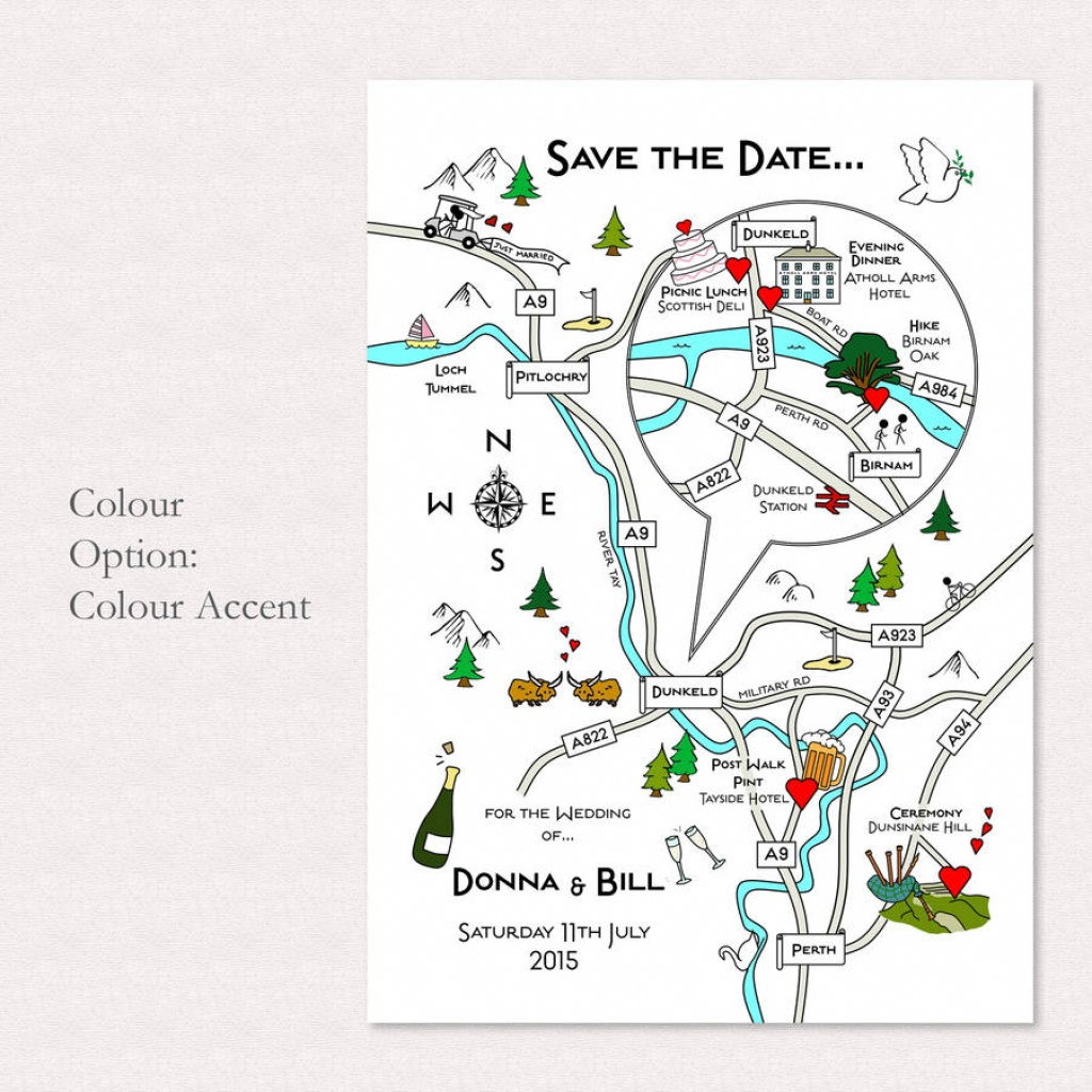 Print Your Own Colour Wedding Or Party Illustrated Map - How To Create A Printable Map For A Wedding Invitation