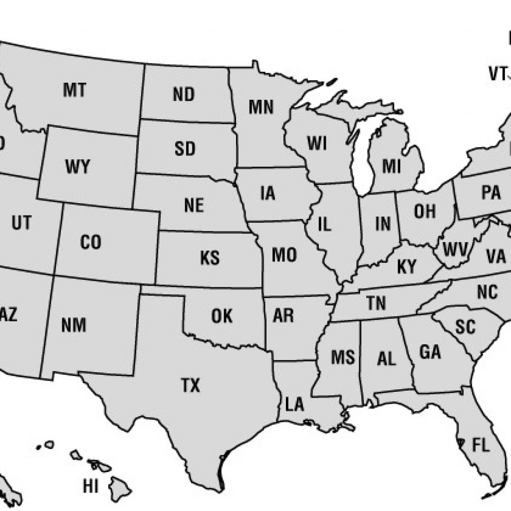 Printable 50 States Map United And A List Of Us - Printable 50 States Map