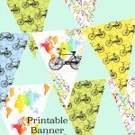 Printable Bike Bunting Map Banner Birthday Party Garland | Etsy   Printable Map Banner