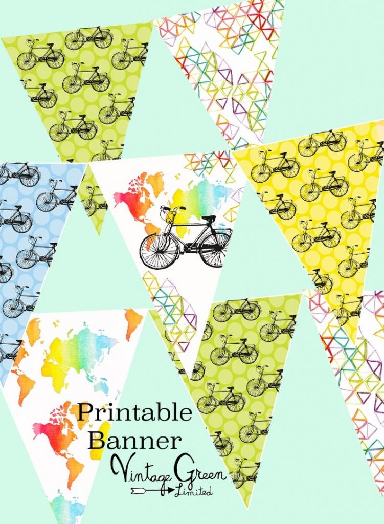 Printable Bike Bunting Map Banner Birthday Party Garland | Etsy - Printable Map Banner