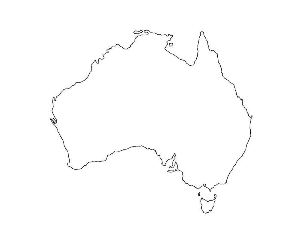 Printable Blank Map Of Australia And New Zealand Random 2 1024×791 4 - Blank Map Of Australia Printable