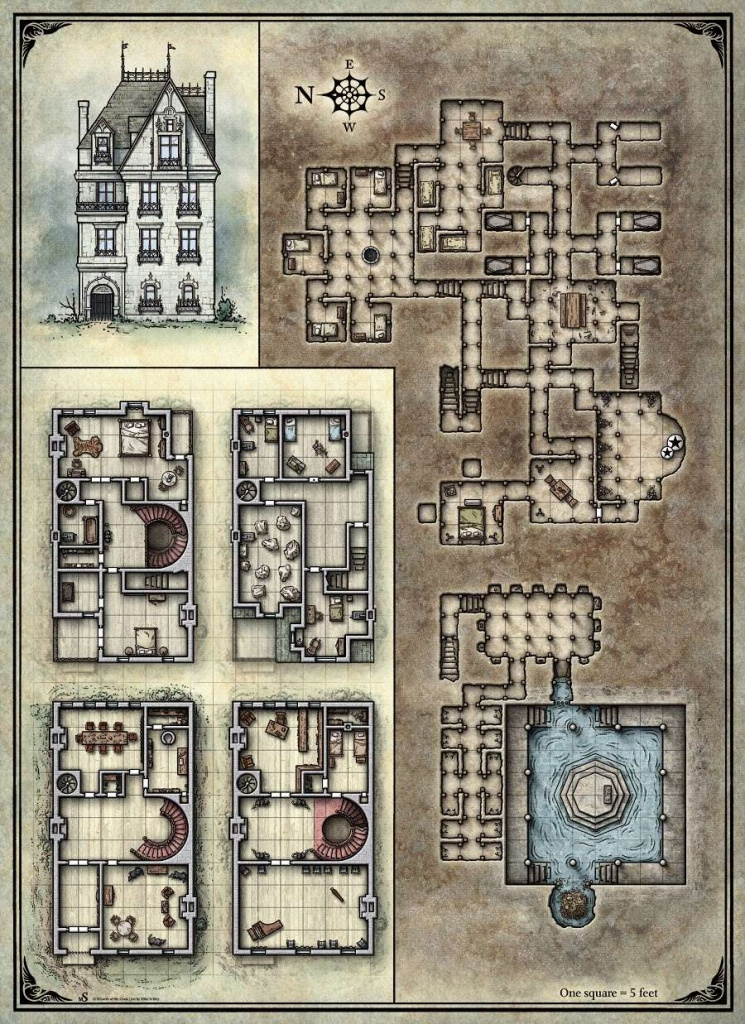 Printable Death House Maps - Dungeon Masters Guild   Dungeon Masters - D&d Printable Maps