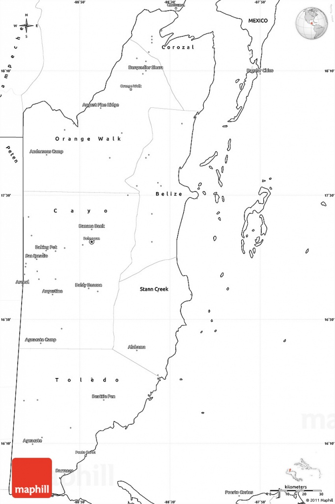 Printable Map Of Belize And Travel Information | Download Free - Printable Map Of Belize