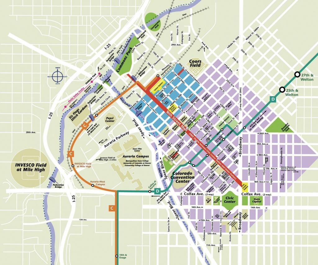 Printable Map Of Denver And Travel Information   Download Free - Denver City Map Printable