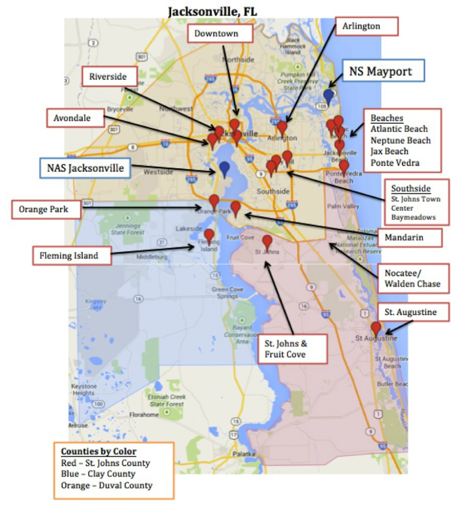 Printable Map Of Jacksonville Fl Area Zip Codes Neighborhoods Florida - Map Of Hotels In Jacksonville Florida