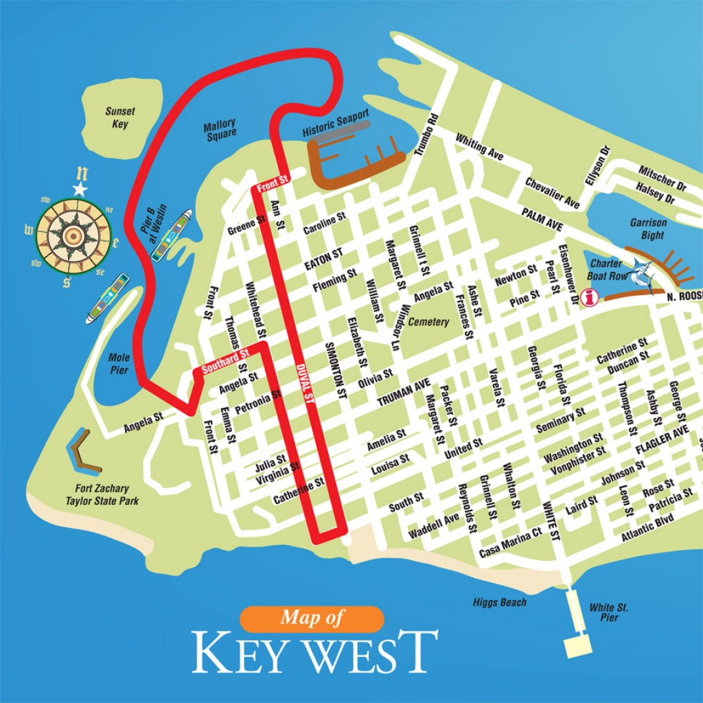Printable Map Of Key West Florida Streets Hotels Area Attractions Pdf - Map Of Hotels In Key West Florida