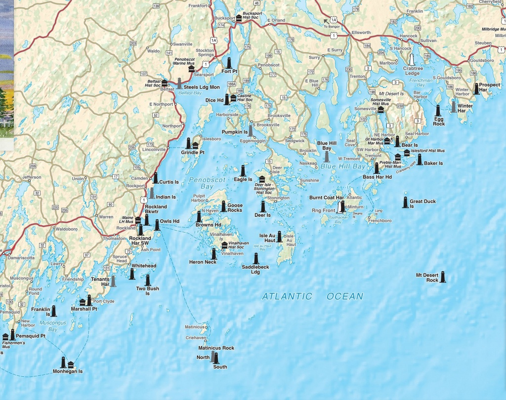 Printable Map Of Maine Lighthouses   Time Zones Map - Printable Map Of Maine Coast
