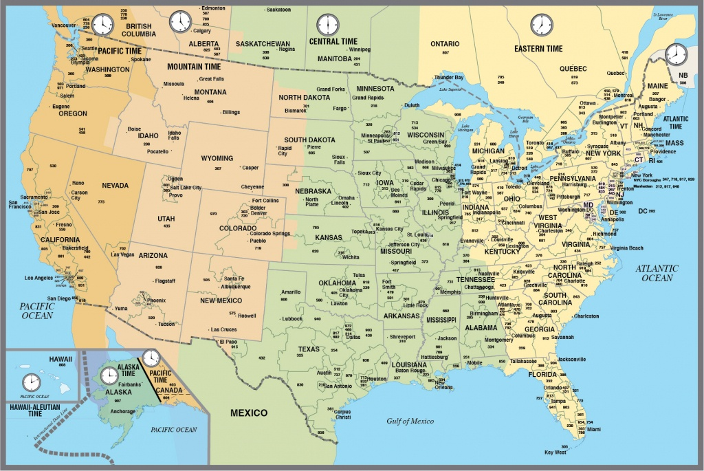 Printable Map Of The Usa With Time Zones - Printable Us Map With Time Zones And Area Codes