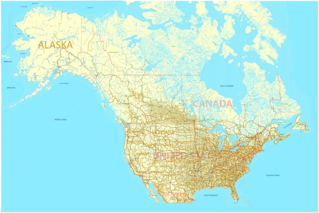 Printable Map Us And Canada Editable, Adobe Illustrator - World Map With Cities Printable
