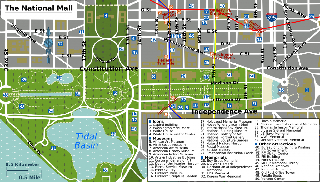 Printable Map Washington Dc | National Mall Map - Washington Dc - Printable Map Of Washington Dc