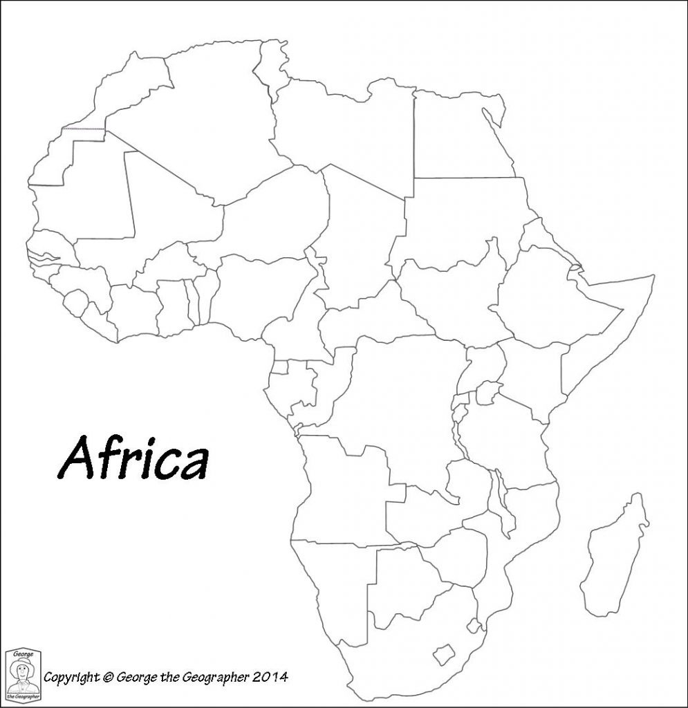 Printable Maps Of Africa | Sitedesignco - Blank Outline Map Of Africa Printable