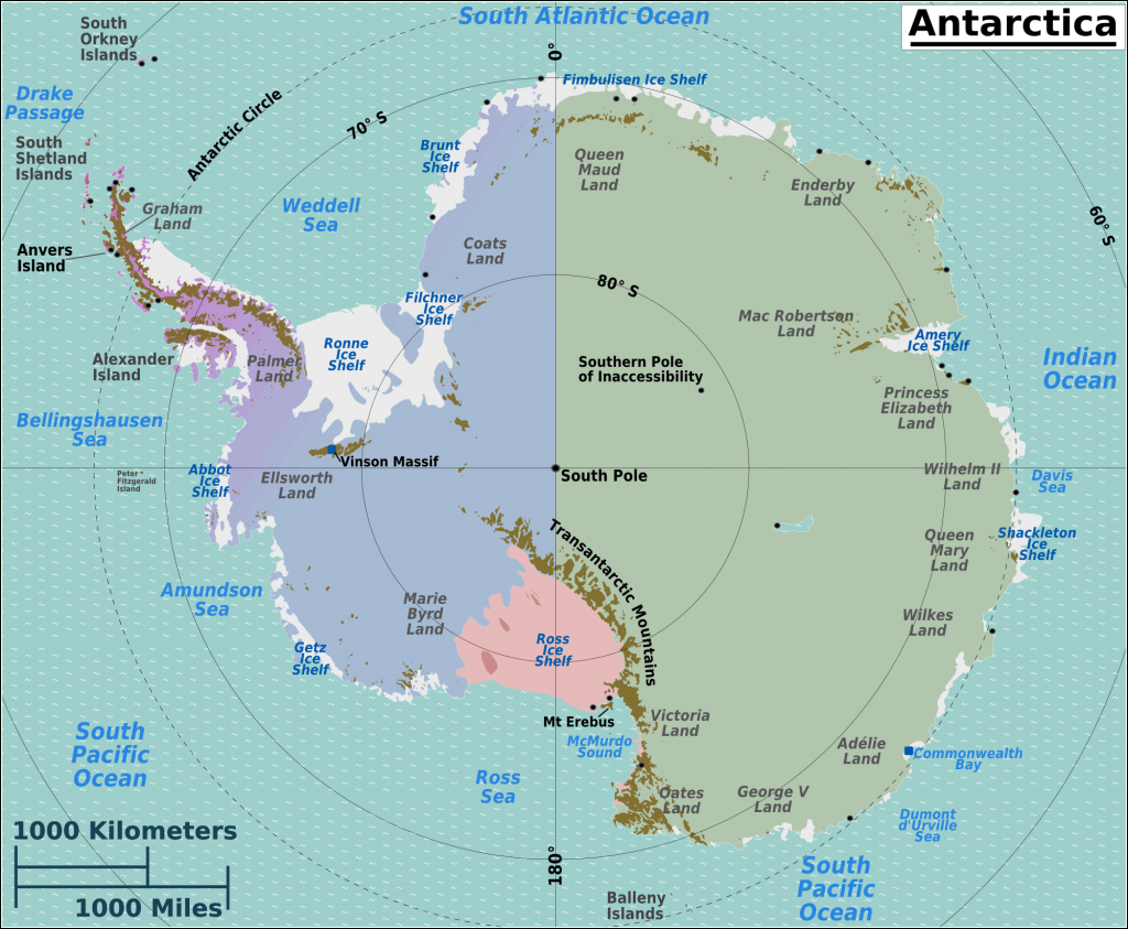 Printable Maps Of Antarctica And Travel Information | Download Free - Printable Map Of Antarctica