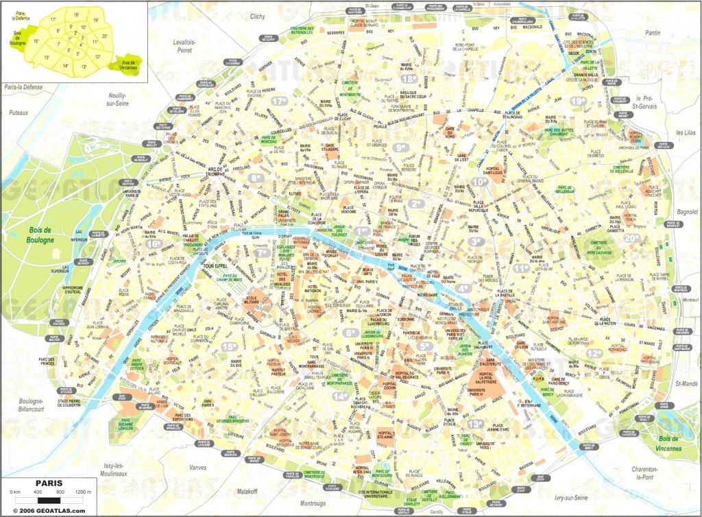 Printable Paris Street Map - Capitalsource - Printable Map Of Paris