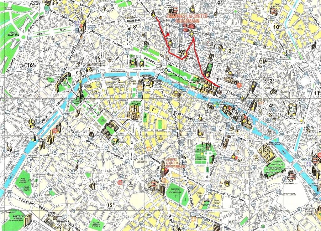 Printable Paris Tourist Map - Hepsimaharet - Paris Street Map Printable