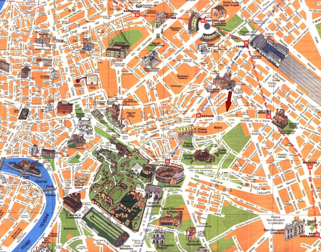 Printable Road Map Of Rome | Detailed Travel Map Of Rome City Center - Central Rome Map Printable