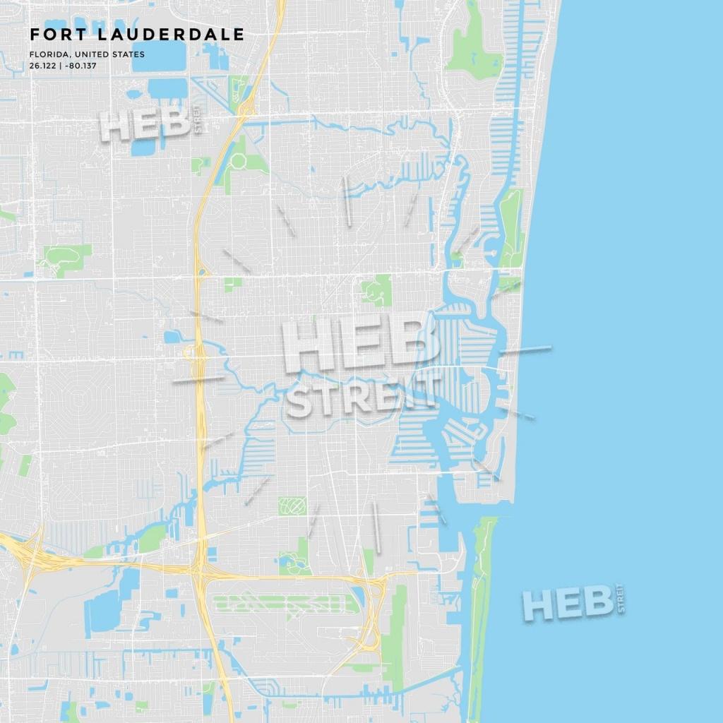 Printable Street Map Of Fort Lauderdale, Florida   Maps Vector - Street Map Of Fort Lauderdale Florida