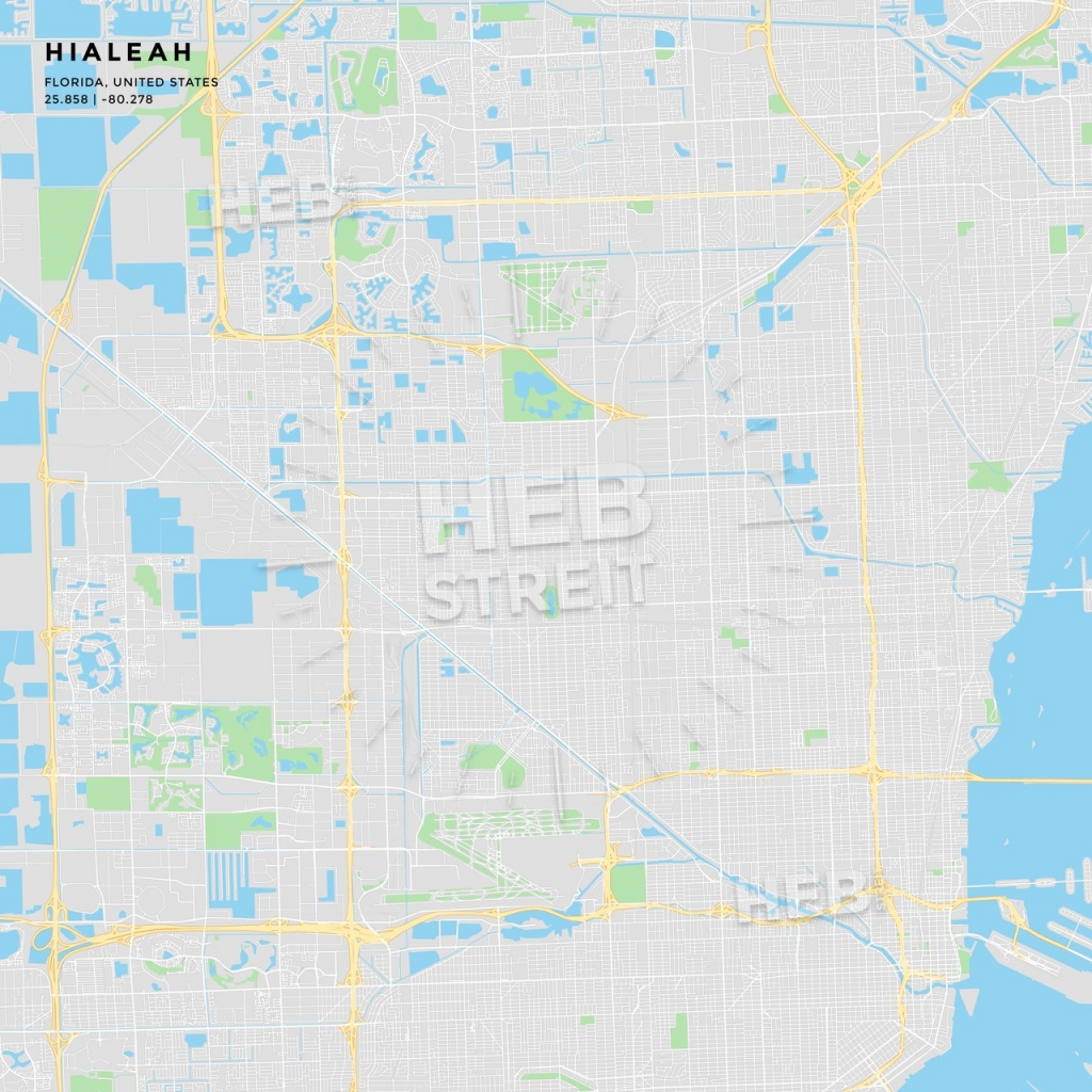 Printable Street Map Of Hialeah, Florida - Florida Street Map