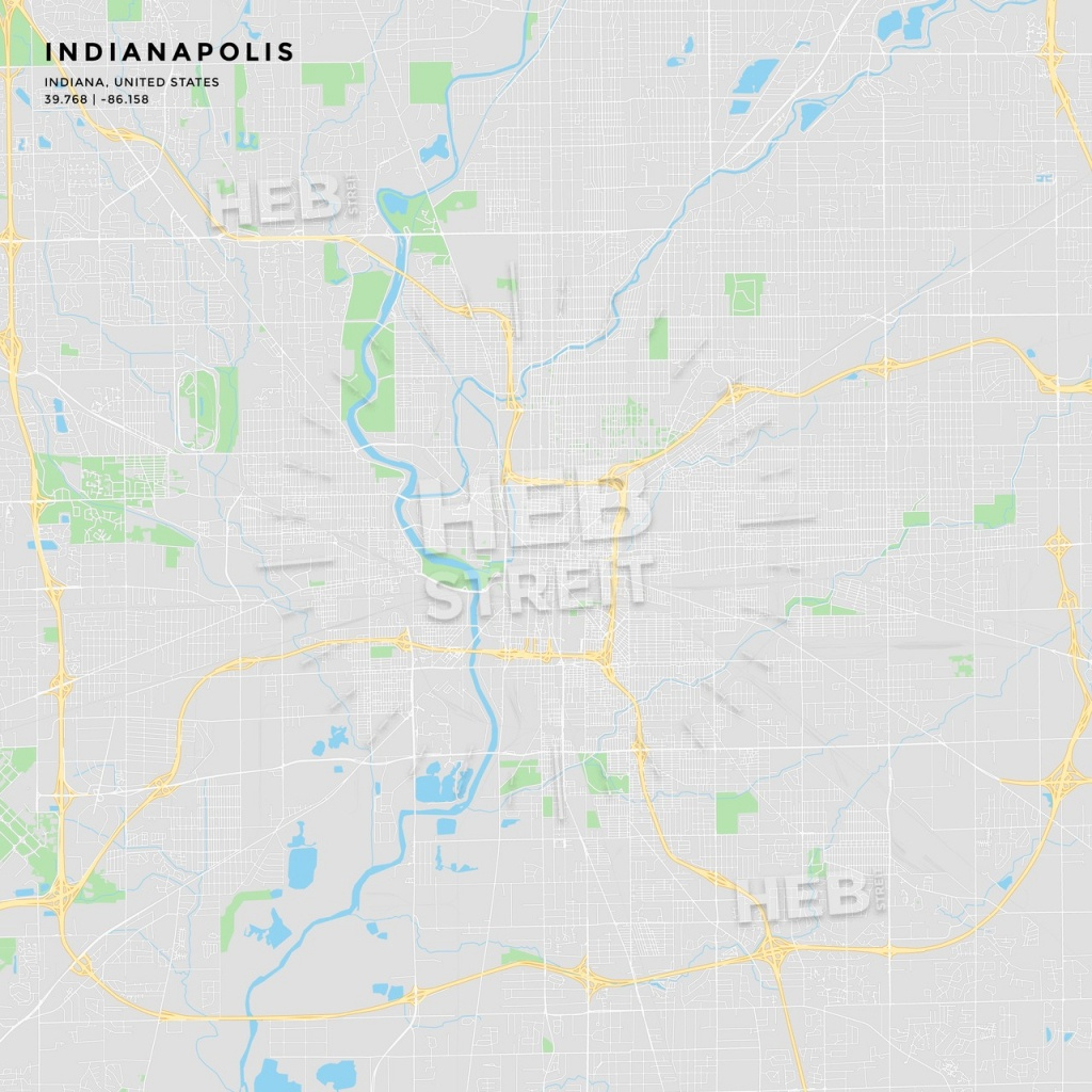 Printable Street Map Of Indianapolis, Indiana | Hebstreits Sketches - Printable Map Of Indianapolis