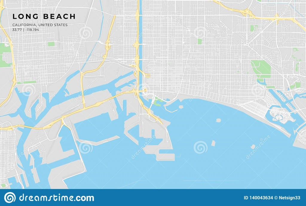 Printable Street Map Of Long Beach, California Stock Vector - Printable Map Of Long Beach Ca