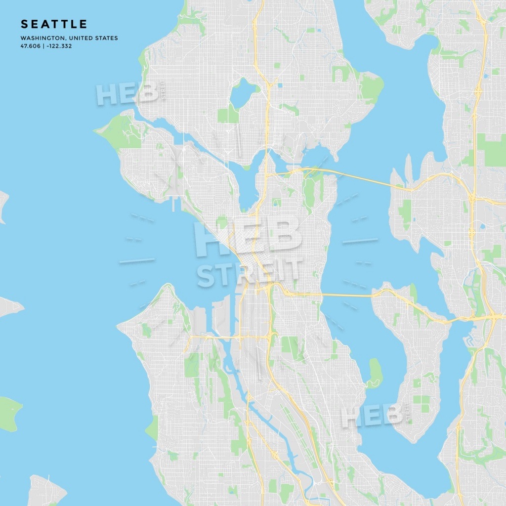 Printable Street Map Of Seattle, Washington | Hebstreits Sketches - Printable Map Of Seattle