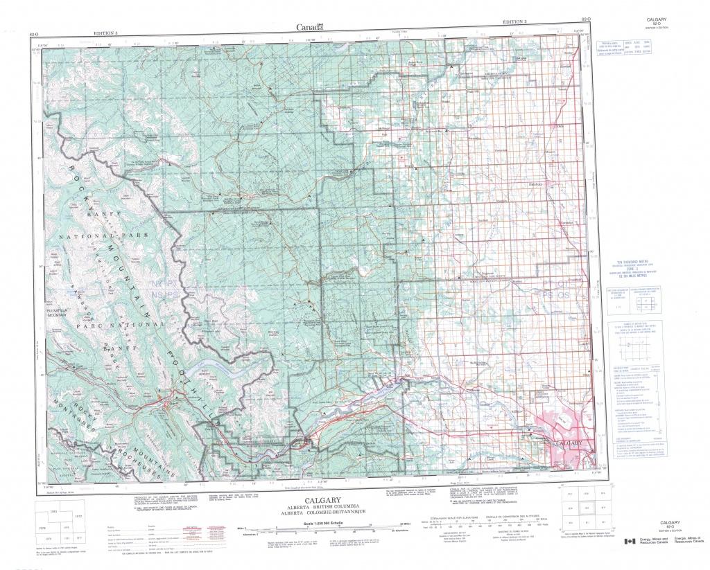 Printable Topographic Map Of Calgary 082O, Ab - Free Printable Map Of Alberta