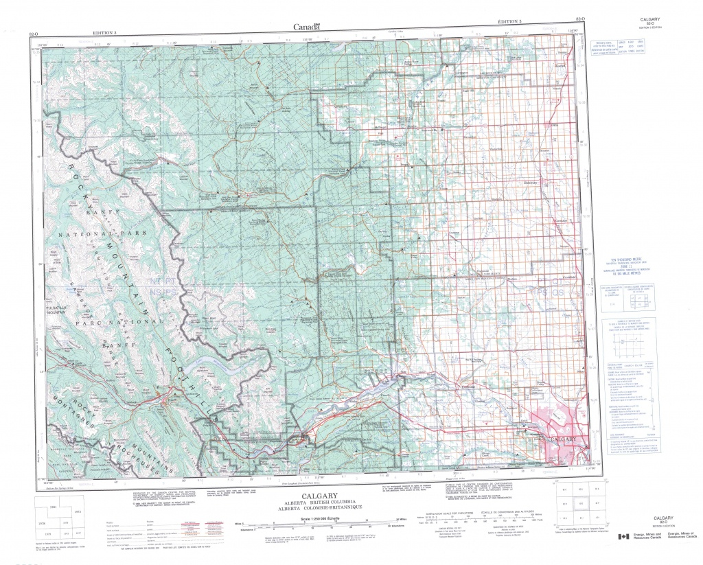 Printable Topographic Map Of Calgary 082O, Ab - Printable Map Of Calgary