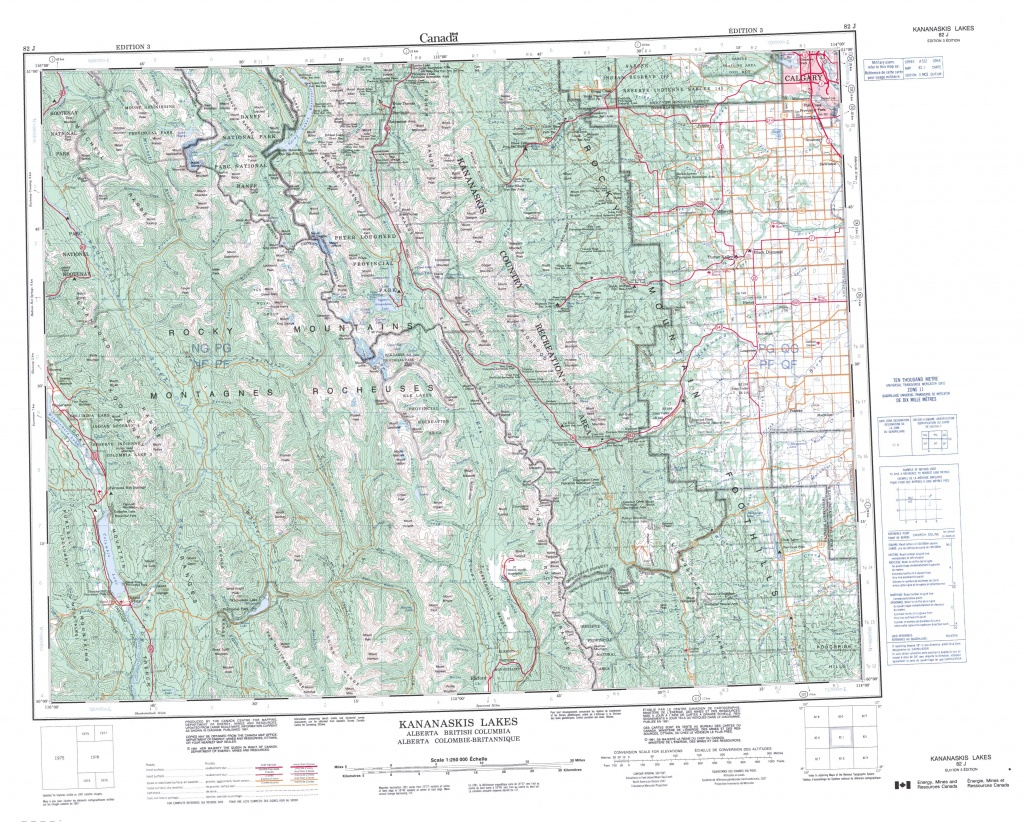 Printable Topographic Map Of Kananaskis Lakes 082J, Ab - Free Printable Topo Maps Online