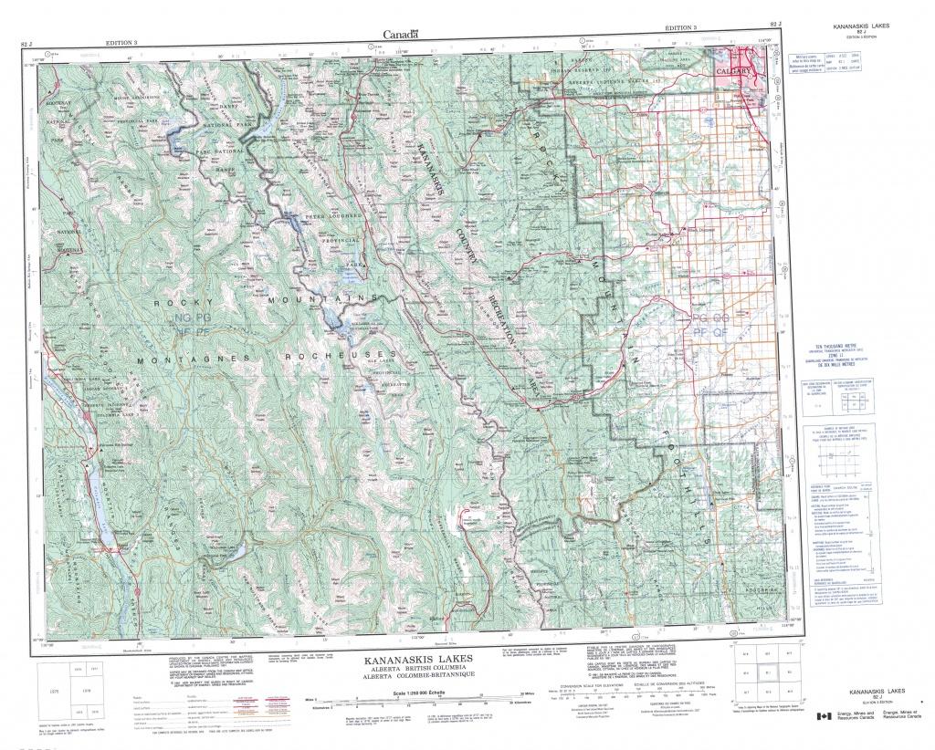 Printable Topographic Map Of Kananaskis Lakes 082J, Ab - Printable Map Of Alberta