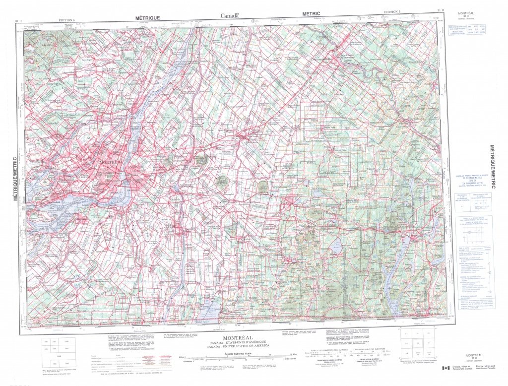 Printable Topographic Map Of Montreal 031H, Qc - Printable Map Of Montreal