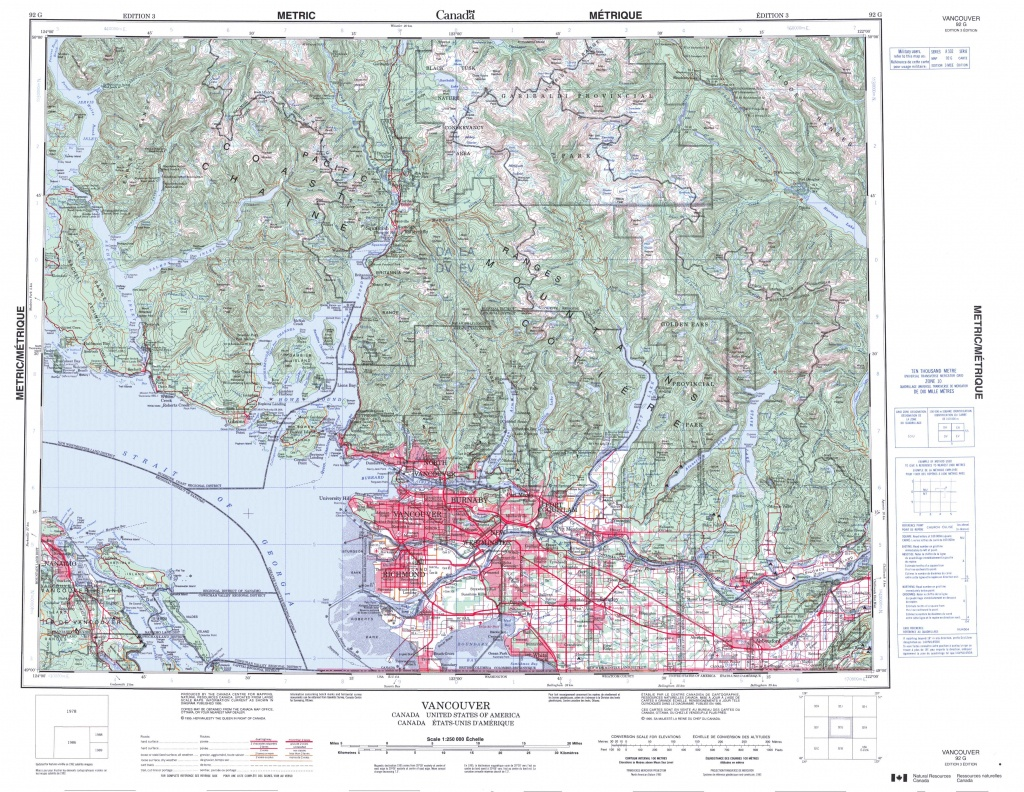 Printable Topographic Map Of Vancouver 092G, Bc - Topographic Map Printable