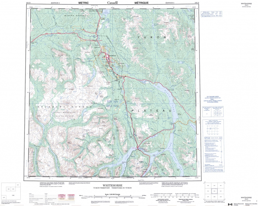 Printable Topographic Map Of Whitehorse 105D, Yk - Free Printable Topo Maps Online