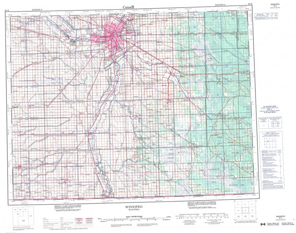 Printable Topographic Map Of Winnipeg 062H, Mb - Printable Topographic Map